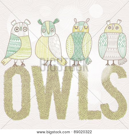Cute cartoon owls in vector with text made of summer leafs. Childish card in  pastel green colors
