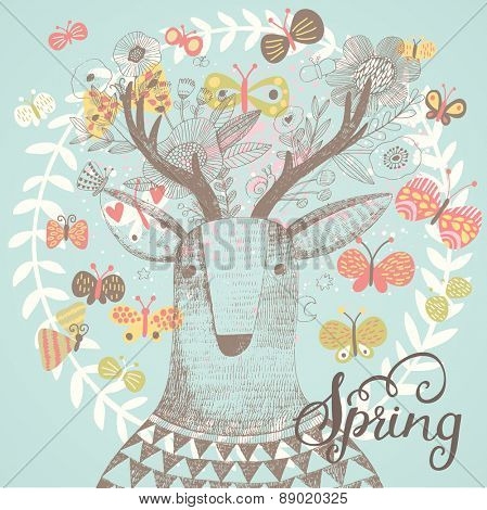Sweet spring card in vector. Incredible deer in butterflies