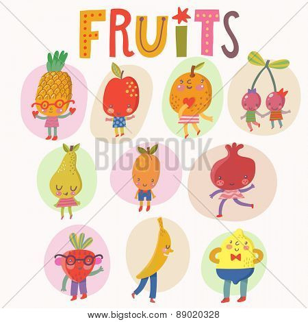 Sweet fruits and berries set in vector. Pineapple, apple, orange, cherry, pear, apricot, pomegranate, strawberry, banana and lemon. Tasty card in cartoon style