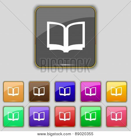 Open Book Icon Sign. Set With Eleven Colored Buttons For Your Site. Vector