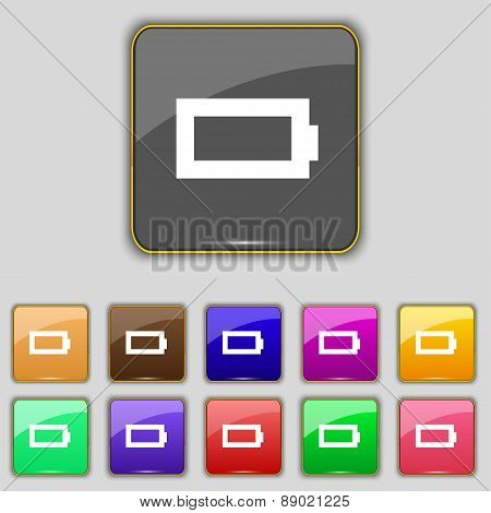 Battery Empty Icon Sign. Set With Eleven Colored Buttons For Your Site. Vector