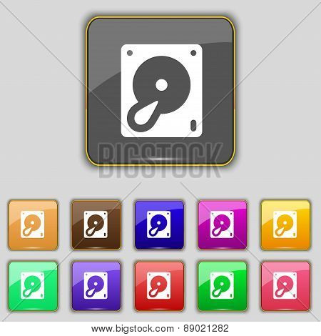Hard Disk And Database Icon Sign. Set With Eleven Colored Buttons For Your Site. Vector