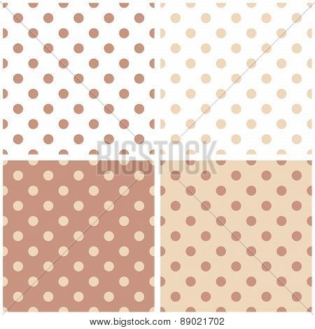 Tile vector pattern set with brown polka dots on white and beige background