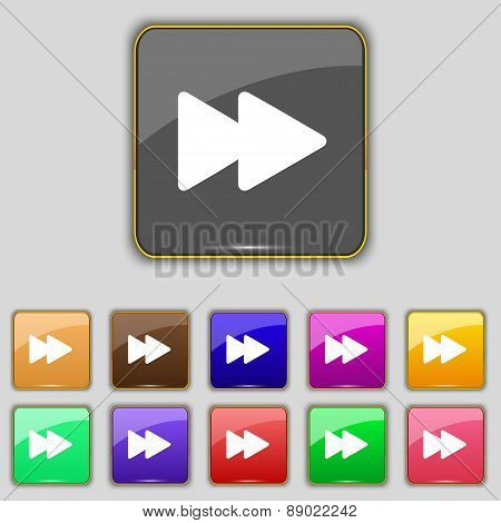 Rewind Icon Sign. Set With Eleven Colored Buttons For Your Site. Vector