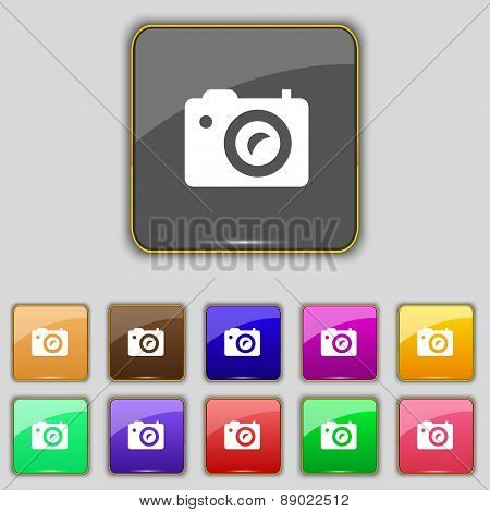 Digital Photo Camera Icon Sign. Set With Eleven Colored Buttons For Your Site. Vector