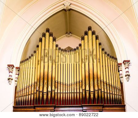 Gold Pipes On An Old Pipe Organ