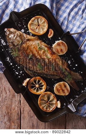 Grilled Carp With Lemon In A Grill Pan Vertical Top View
