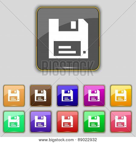 Floppy Icon Sign. Set With Eleven Colored Buttons For Your Site. Vector