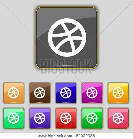 Basketball Icon Sign. Set With Eleven Colored Buttons For Your Site. Vector