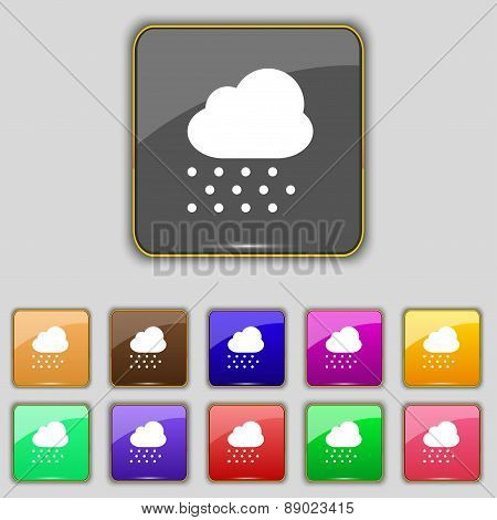 Snowing Icon Sign. Set With Eleven Colored Buttons For Your Site. Vector