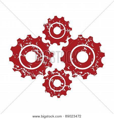 Red grunge new mechanism logo