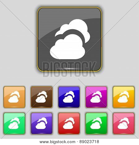 Cloud Icon Sign. Set With Eleven Colored Buttons For Your Site. Vector