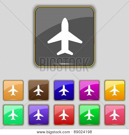 Airplane, Plane, Travel, Flight Icon Sign. Set With Eleven Colored Buttons For Your Site. Vector