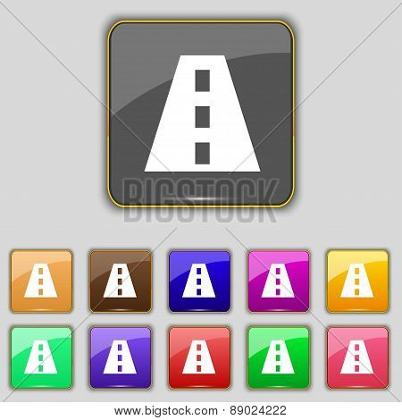 Road Icon Sign. Set With Eleven Colored Buttons For Your Site. Vector