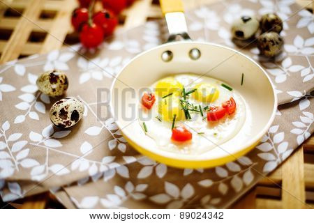 Fresh Breakfast With Fried Eggs Pan
