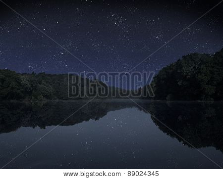The big wood lake at night with sky with stars