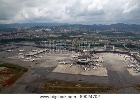 Guarulhos, SP, Brazil - Mar 22, 2015. Aerial view of International airport of Sao Paulo - Guarulhos airport - GRU airport, also knwon as Cumbica airport and Governor Andre Franco Montoro.