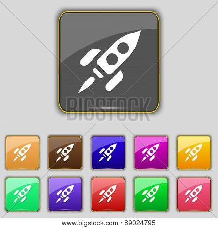 Rocket Icon Sign. Set With Eleven Colored Buttons For Your Site. Vector