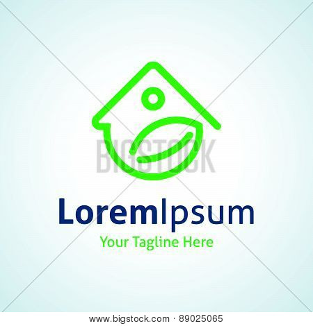 Green home energy protection vector logo icon