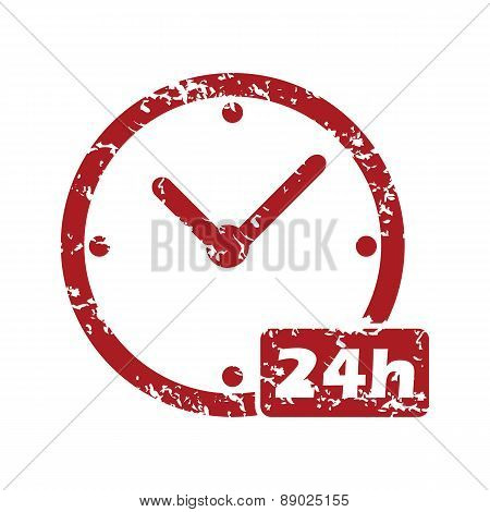 Red grunge clock logo