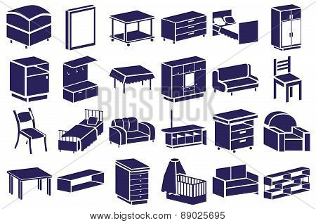 Furniture Blue Icons On White