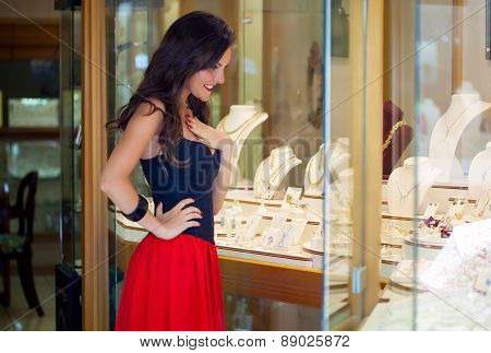 A woman is in the jewelry store