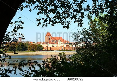 Panorama of Torun old medieval town in Poland.