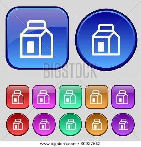 Milk, Juice, Beverages, Carton Package Icon Sign. A Set Of Twelve Vintage Buttons For Your Design. V