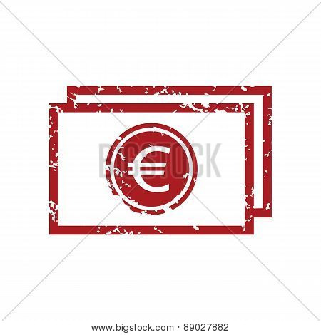 Red grunge euro buck logo