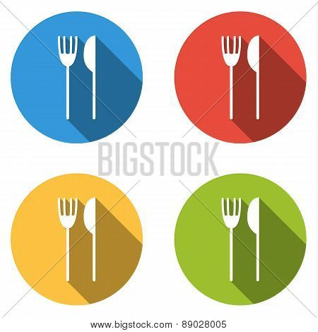 Collection Of 4 Isolated Flat Buttons (icons) For Fork And Knife