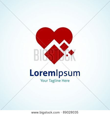 Red heart shape decoded integrate technology vector logo icon