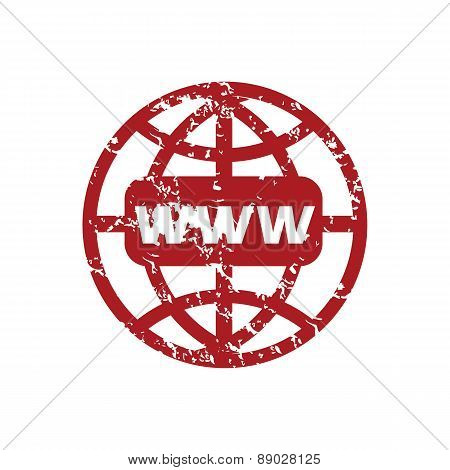 Red grunge www world logo