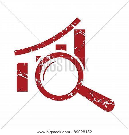 Red grunge graph scan logo