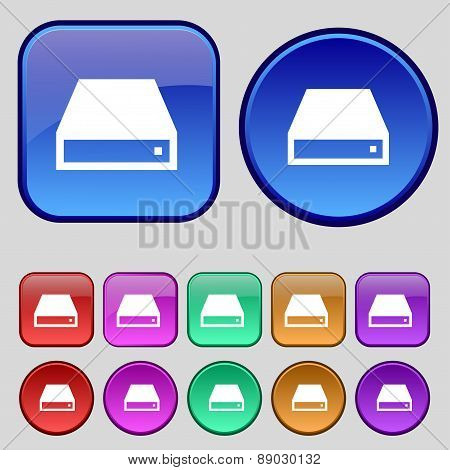Cd-rom Icon Sign. A Set Of Twelve Vintage Buttons For Your Design. Vector