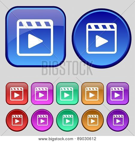 Play Video Icon Sign. A Set Of Twelve Vintage Buttons For Your Design. Vector