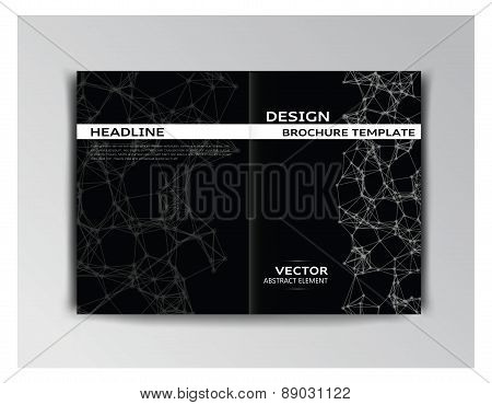 Horizontal Black And White Template Of Brochure