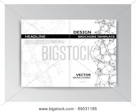 Horizontal White And Black Template Of Brochure