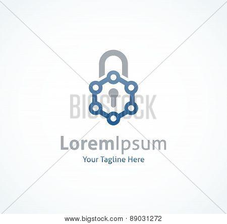 New technology lock program science material keyhole vector logo icon