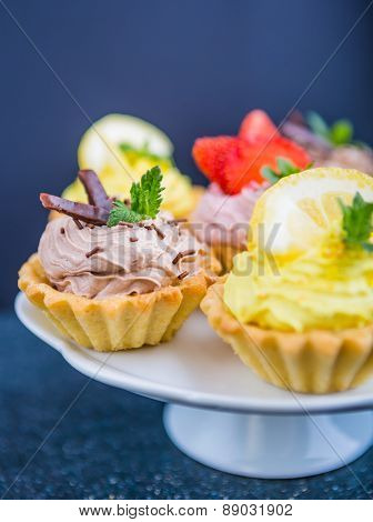 Small Biscuits With Fruits And Sweet Cream