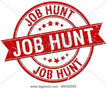 Job Hunt Grunge Retro Red Isolated Ribbon Stamp