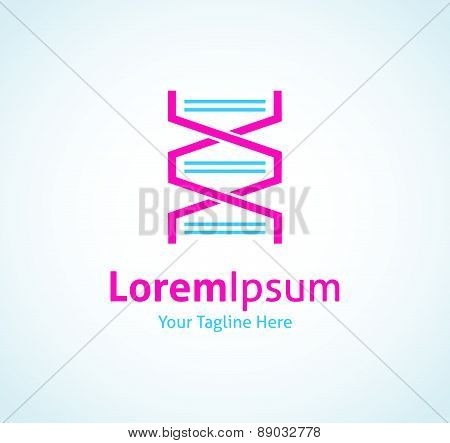DNA code chain straight spiral vector logo icon