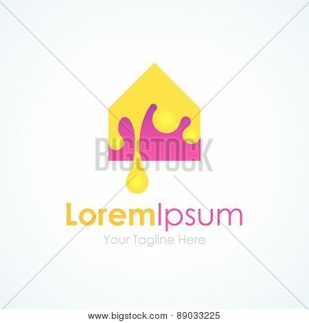 Repaint you interior design house icon simple elements logo
