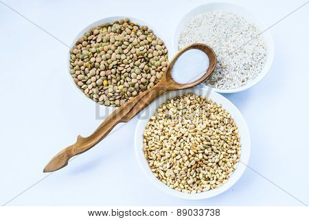 Cereals Rice, Lentil, Wheat And Wooden Spoon Salt