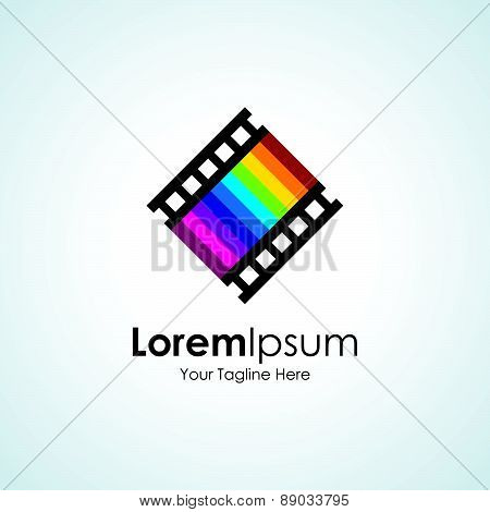 Seventh art love movie track icon simple elements logo