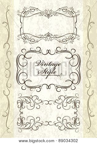 Set of 3 vintage, text frames and decorative elements on aged background. Vector illustration for yo