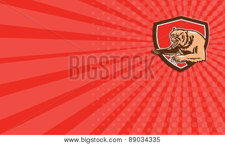 Business Card Grizzly Bear Angry Shield Retro