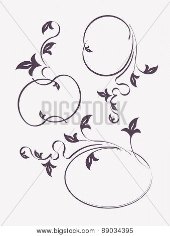 Set of 3 decorative, oval frames with plant elements. Vector illustration for your design.