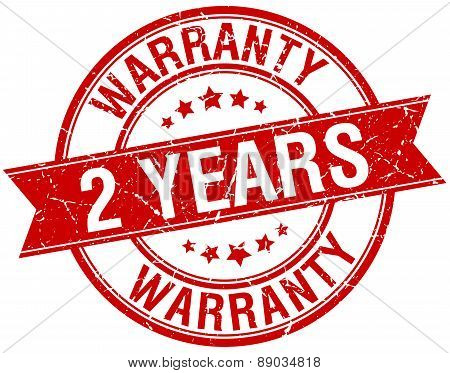 2 Years Warranty Grunge Retro Red Isolated Ribbon Stamp