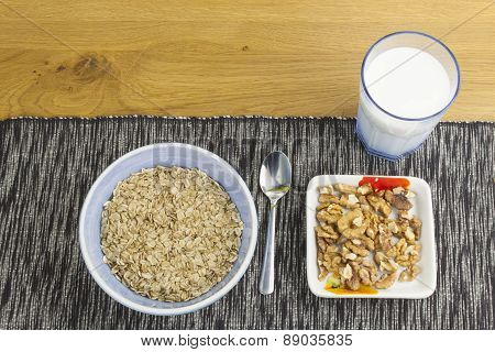 Homework diet breakfast, oatmeal with nuts and milk diet weight loss