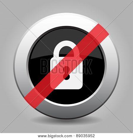 Gray Chrome Button - No Closed Padlock